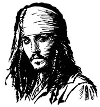 Jack Sparrow, Pirates of the Caribbean portrait by Daniel Reeve
