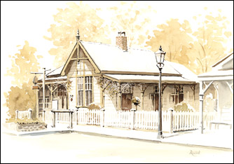 Arrowtown house - ink and wash