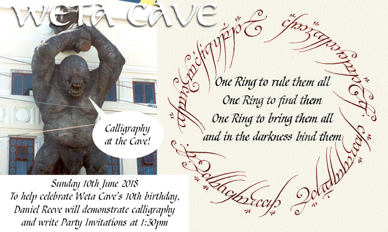 Calligraphy at Weta Cave 10th June